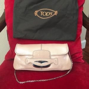 TODS pink sneak skin small bag
